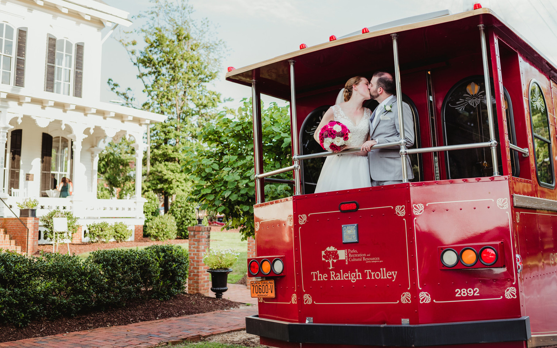 Summer Wedding Keeps it Cool with a Trolley and Special Musical Performances