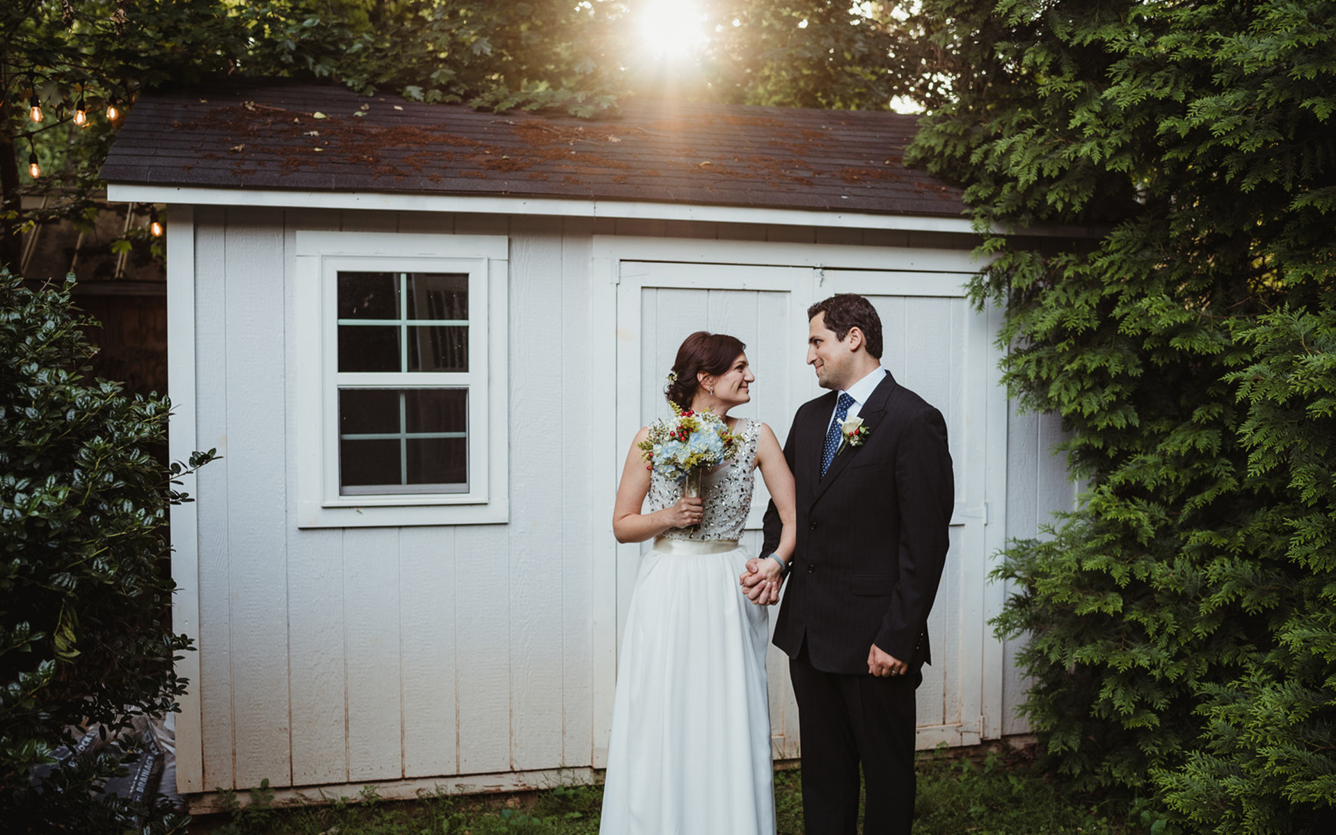 Intimate Backyard Ceremony with Garden Gnome and Puppy Appearances